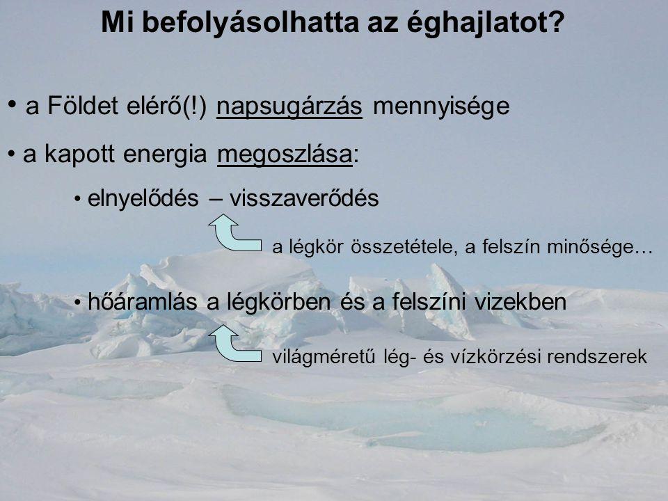 Mi befolyásolhatta az éghajlatot? a Földet elérő(!) napsugárzás mennyisége a kapott energia megoszlása: elnyelődés – visszaverődés hőáramlás a légkörb