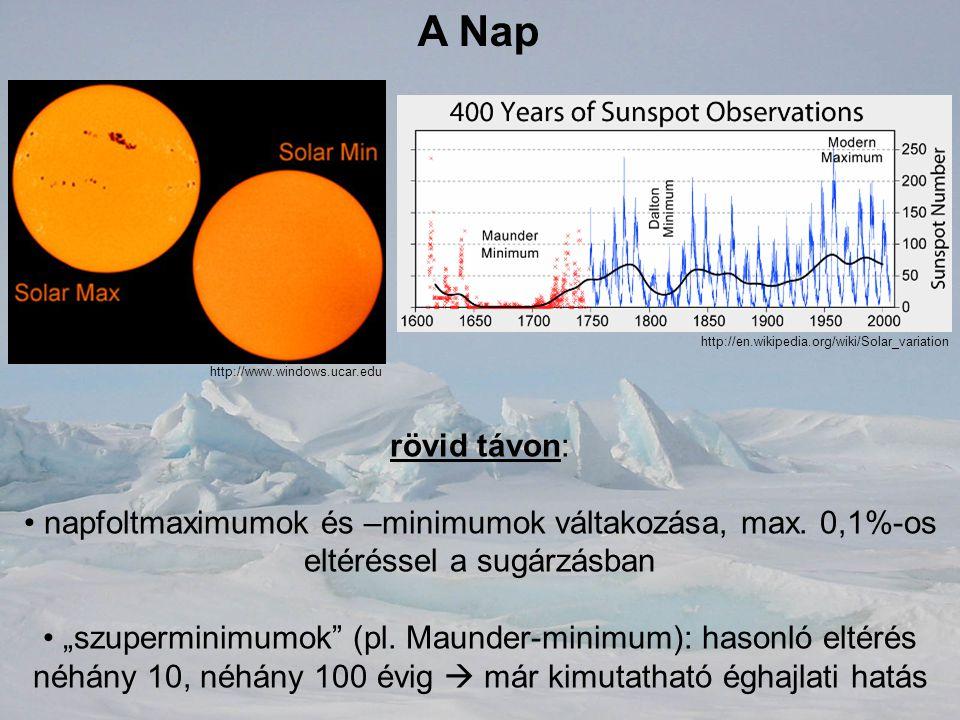 """A Nap rövid távon: napfoltmaximumok és –minimumok váltakozása, max. 0,1%-os eltéréssel a sugárzásban """"szuperminimumok"""" (pl. Maunder-minimum): hasonló"""