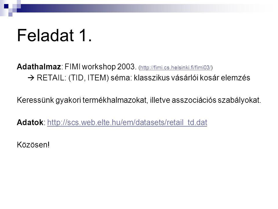 Feladat 1.Adathalmaz: FIMI workshop 2003.