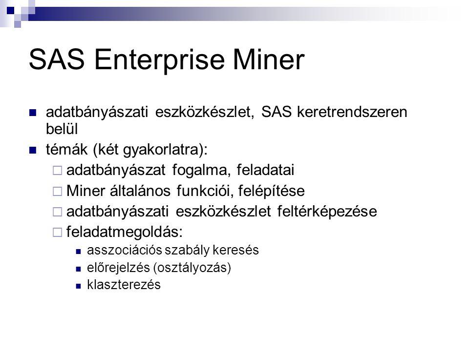 SAS Enterprise Miner adatbányászati eszközkészlet, SAS keretrendszeren belül témák (két gyakorlatra):  adatbányászat fogalma, feladatai  Miner általános funkciói, felépítése  adatbányászati eszközkészlet feltérképezése  feladatmegoldás: asszociációs szabály keresés előrejelzés (osztályozás) klaszterezés