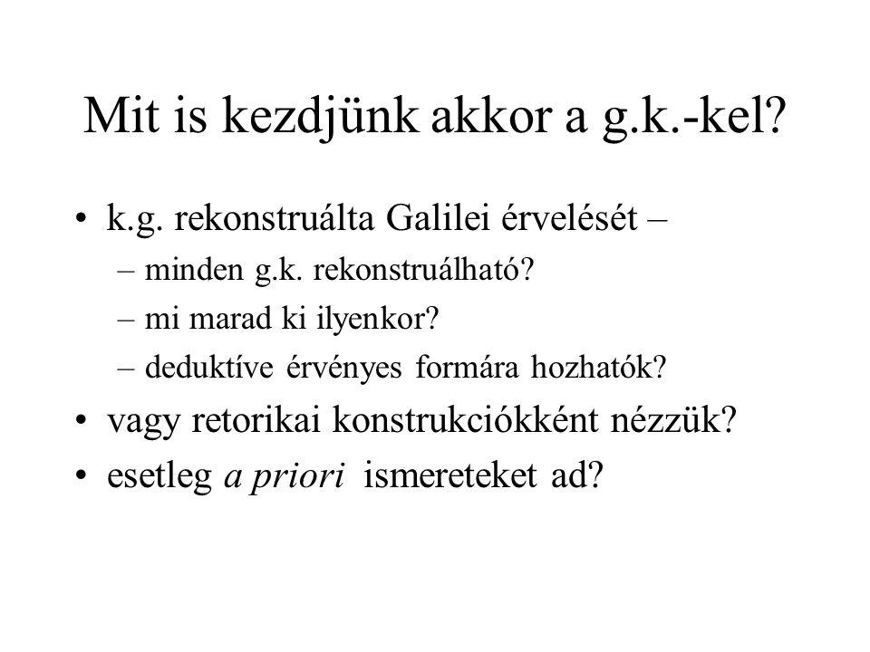 Mit is kezdjünk akkor a g.k.-kel. k.g. rekonstruálta Galilei érvelését – –minden g.k.