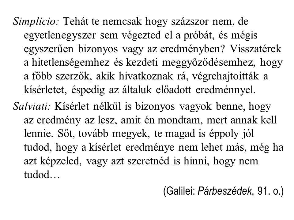 Simplicio: Tehát te nemcsak hogy százszor nem, de egyetlenegyszer sem végezted el a próbát, és mégis egyszerűen bizonyos vagy az eredményben.