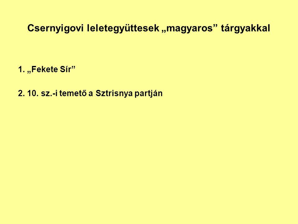 """Csernyigovi leletegyüttesek """"magyaros"""" tárgyakkal 1. """"Fekete Sír"""" 2. 10. sz.-i temető a Sztrisnya partján"""