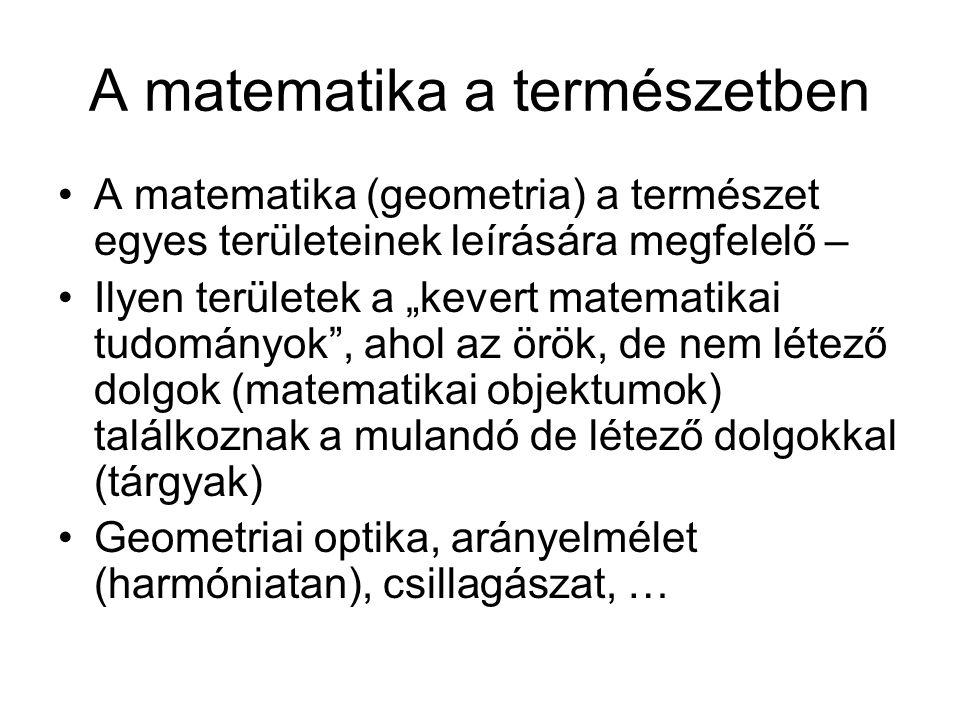 """A matematika a természetben A matematika (geometria) a természet egyes területeinek leírására megfelelő – Ilyen területek a """"kevert matematikai tudományok , ahol az örök, de nem létező dolgok (matematikai objektumok) találkoznak a mulandó de létező dolgokkal (tárgyak) Geometriai optika, arányelmélet (harmóniatan), csillagászat, …"""