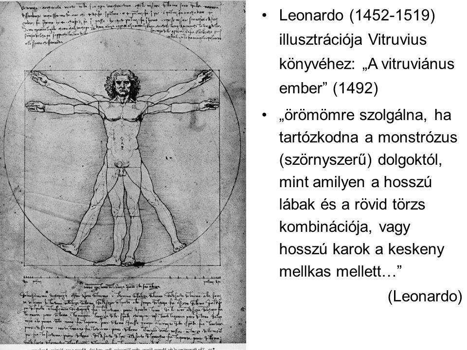 """Leonardo (1452-1519) illusztrációja Vitruvius könyvéhez: """"A vitruviánus ember (1492) """"örömömre szolgálna, ha tartózkodna a monstrózus (szörnyszerű) dolgoktól, mint amilyen a hosszú lábak és a rövid törzs kombinációja, vagy hosszú karok a keskeny mellkas mellett… (Leonardo)"""