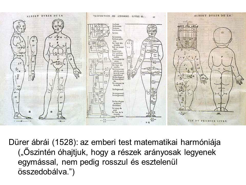 """Dürer ábrái (1528): az emberi test matematikai harmóniája (""""Őszintén óhajtjuk, hogy a részek arányosak legyenek egymással, nem pedig rosszul és esztelenül összedobálva. )"""