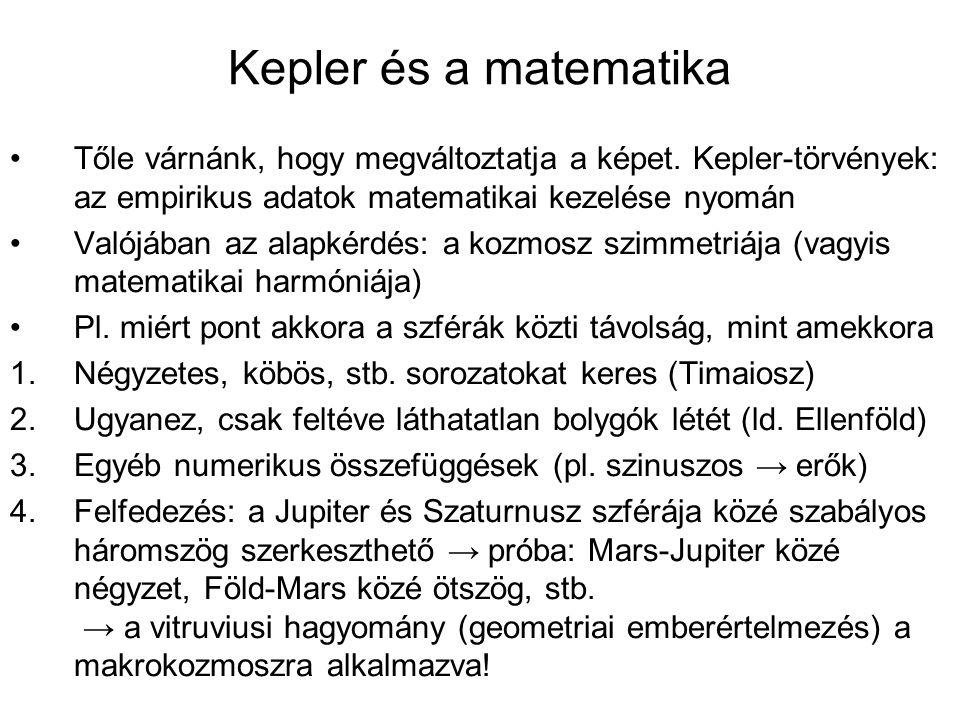 Kepler és a matematika Tőle várnánk, hogy megváltoztatja a képet.