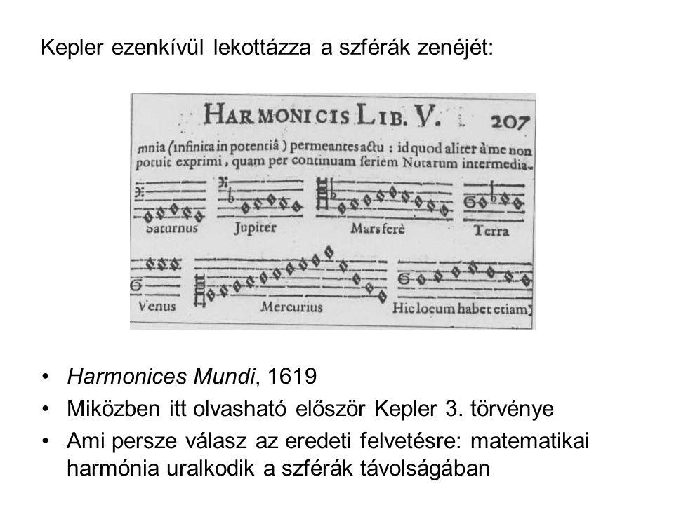 Kepler ezenkívül lekottázza a szférák zenéjét: Harmonices Mundi, 1619 Miközben itt olvasható először Kepler 3.