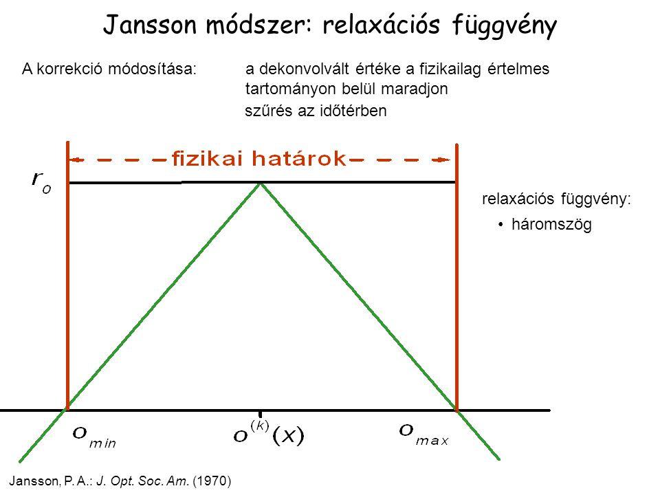 A korrekció módosítása: Jansson módszer: relaxációs függvény Jansson, P. A.: J. Opt. Soc. Am. (1970) a dekonvolvált értéke a fizikailag értelmes tarto