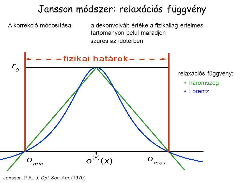 Jansson módszer: relaxációs függvény Jansson, P. A.: J. Opt. Soc. Am. (1970) A korrekció módosítása: a dekonvolvált értéke a fizikailag értelmes tarto
