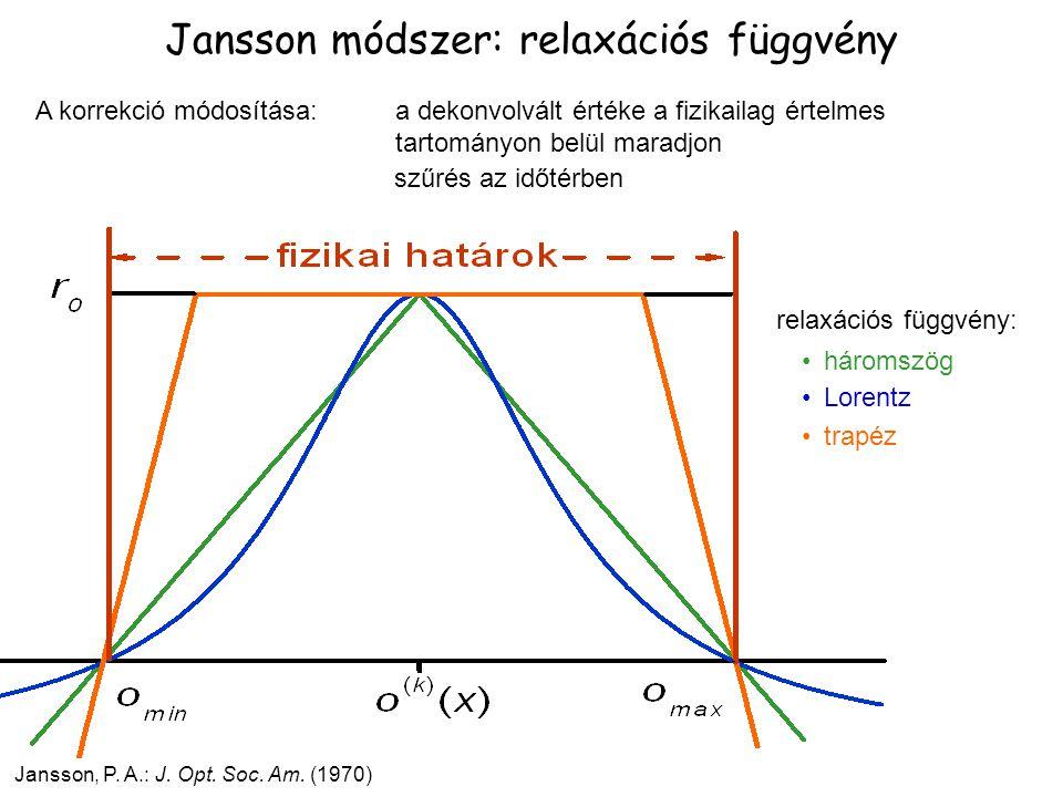 Jansson, P. A.: J. Opt. Soc. Am. (1970) Jansson módszer: relaxációs függvény A korrekció módosítása: a dekonvolvált értéke a fizikailag értelmes tarto