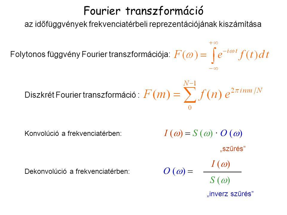 Fourier transzformáció Folytonos függvény Fourier transzformációja: Diszkrét Fourier transzformáció : Konvolúció a frekvenciatérben: I (  S ( 