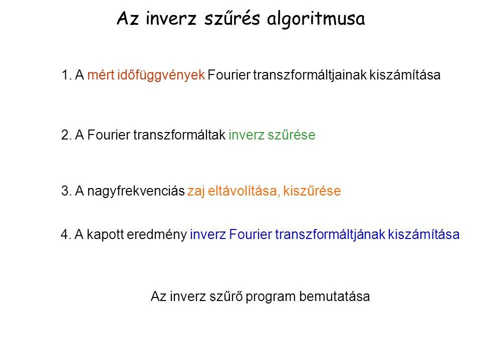1. A mért időfüggvények Fourier transzformáltjainak kiszámítása Az inverz szűrés algoritmusa 2. A Fourier transzformáltak inverz szűrése 3. A nagyfrek