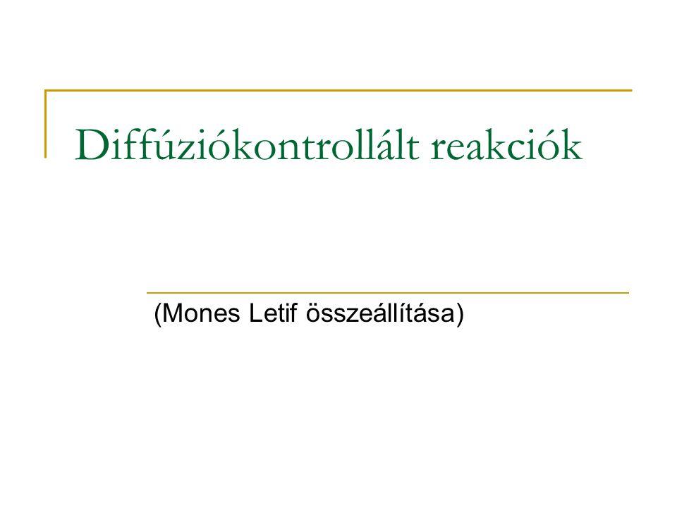 Diffúziókontrollált reakciók (Mones Letif összeállítása)
