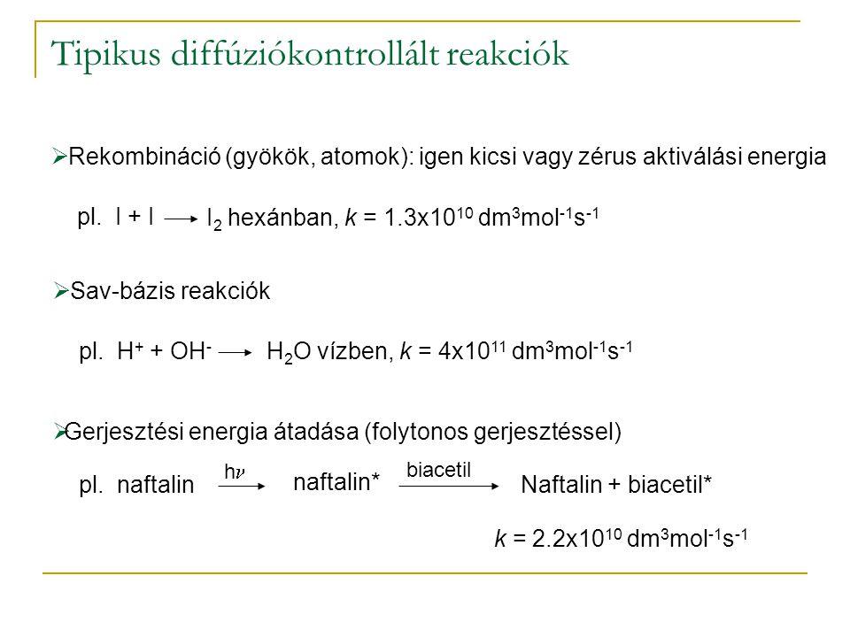 Tipikus diffúziókontrollált reakciók  Rekombináció (gyökök, atomok): igen kicsi vagy zérus aktiválási energia pl.