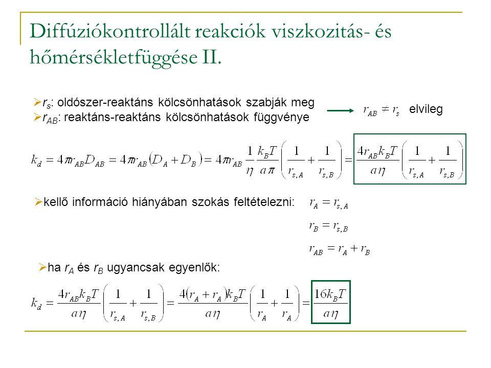 Diffúziókontrollált reakciók viszkozitás- és hőmérsékletfüggése II.