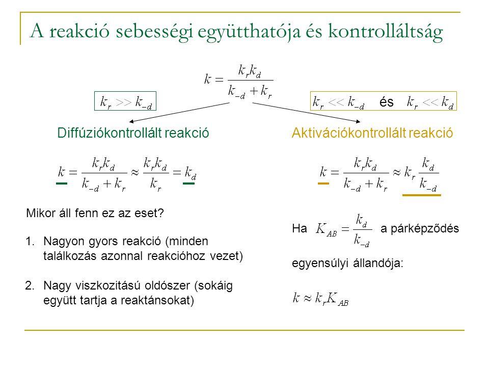 A reakció sebességi együtthatója és kontrolláltság Diffúziókontrollált reakció és Aktivációkontrollált reakció Mikor áll fenn ez az eset.