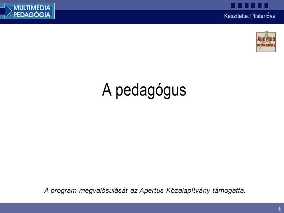 Készítette: Pfister Éva 1 A pedagógus A program megvalósulását az Apertus Közalapítvány támogatta.