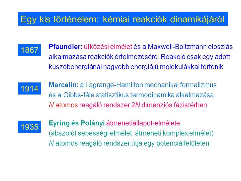 Egy kis történelem: kémiai reakciók dinamikájáról Pfaundler: ütközési elmélet és a Maxwell-Boltzmann eloszlás alkalmazása reakciók értelmezésére. Reak