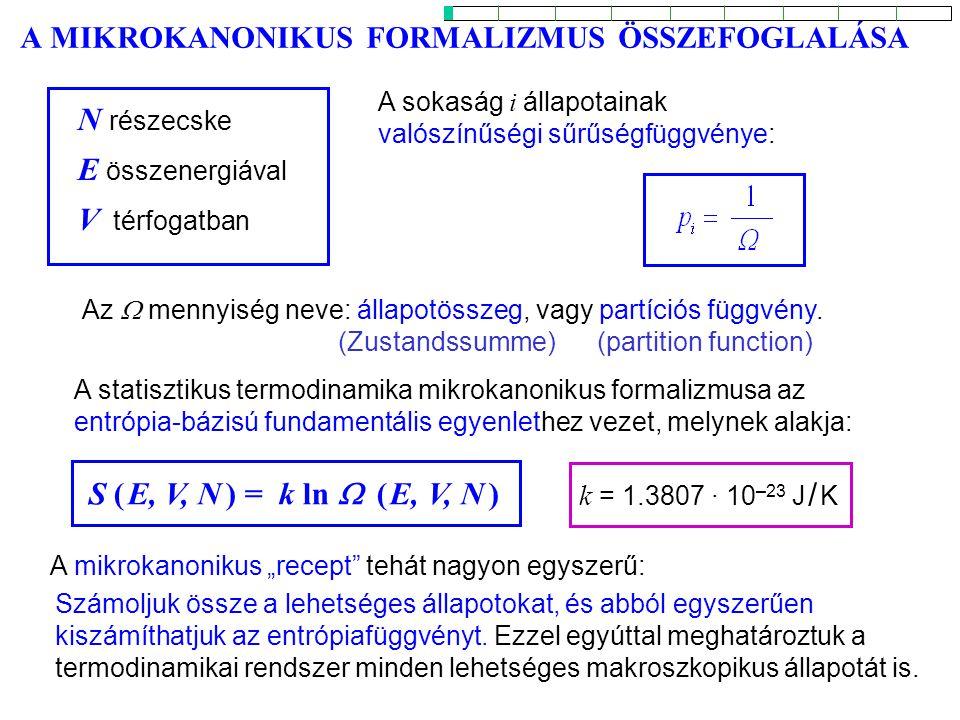 Rotációs partíciós függvény 2 Helyettesítés: Az összeg kiszámítása ismét integrálásra vezethető vissza: akkor aexponenciális kifejezése Ha h c B << k T (h c B a J = 1 -hez tartozó energia), J egymást követő értékeire nagyon közeli eredményeket ad.