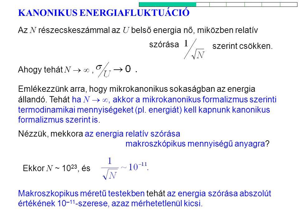 KANONIKUS ENERGIAFLUKTUÁCIÓ 2 Nézzük, mekkora az energia relatív szórása makroszkópikus mennyiségű anyagra? Ahogy tehát N  , Emlékezzünk arra, hogy