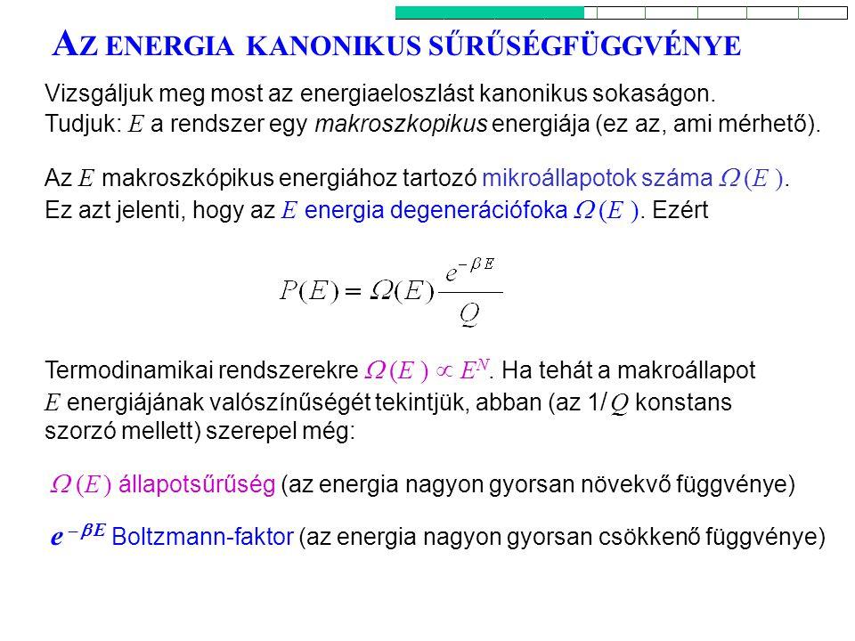 A Z ENERGIA KANONIKUS SŰRŰSÉGFÜGGVÉNYE Az E makroszkópikus energiához tartozó mikroállapotok száma  (E ). Ez azt jelenti, hogy az E energia degenerác