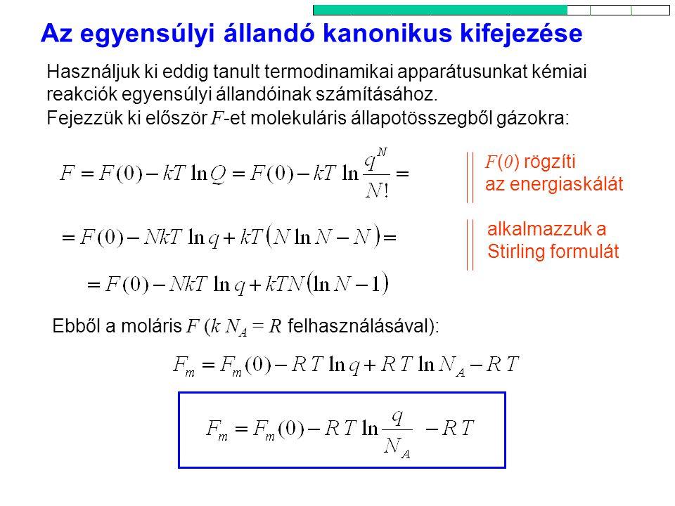 Az egyensúlyi állandó kanonikus kifejezése 1 Használjuk ki eddig tanult termodinamikai apparátusunkat kémiai reakciók egyensúlyi állandóinak számításához.