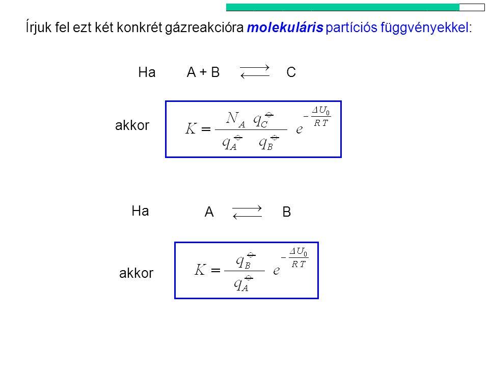 Az egyensúlyi állandó kanonikus kifejezése 5 Ha akkor Ha CA + B AB akkor Írjuk fel ezt két konkrét gázreakcióra molekuláris partíciós függvényekkel: