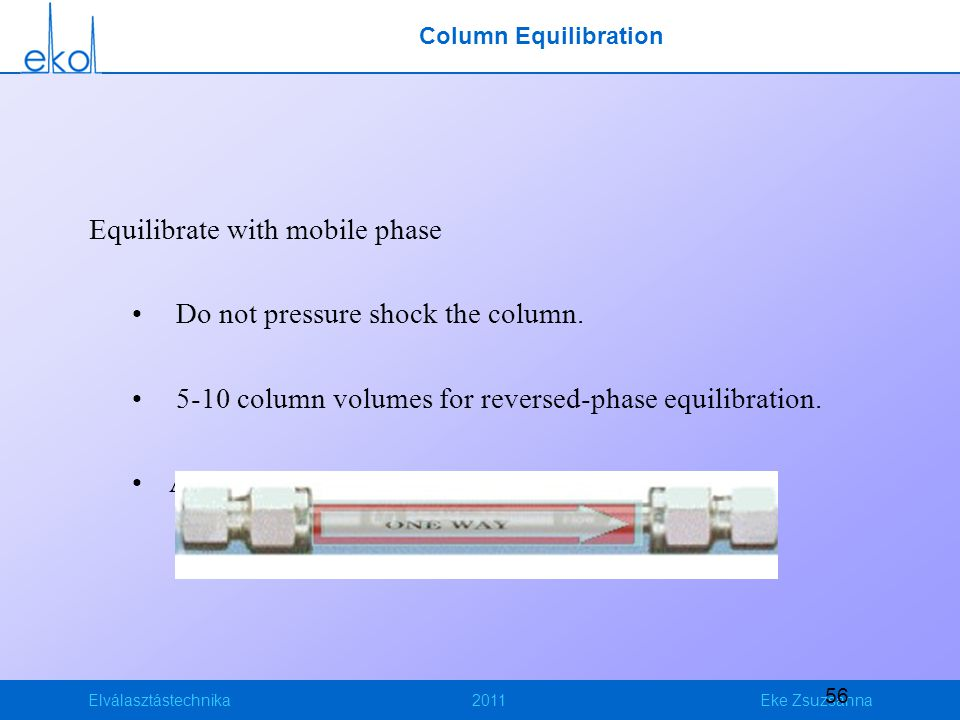 Elválasztástechnika2011Eke Zsuzsanna 56 Column Equilibration Equilibrate with mobile phase Do not pressure shock the column. 5-10 column volumes for r