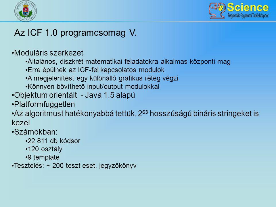 Az ICF 1.0 programcsomag V. Moduláris szerkezet Általános, diszkrét matematikai feladatokra alkalmas központi mag Erre épülnek az ICF-fel kapcsolatos
