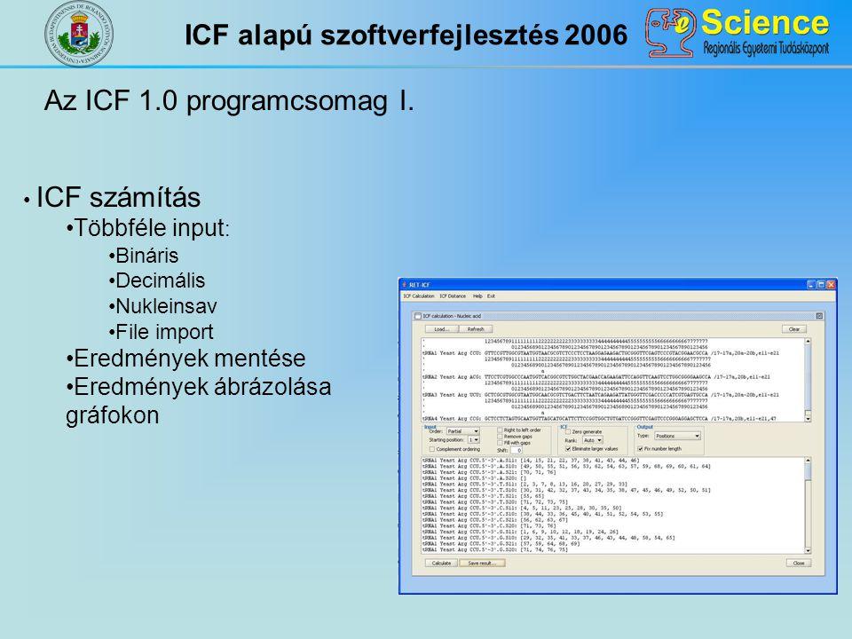 Az ICF 1.0 programcsomag I. ICF számítás Többféle input : Bináris Decimális Nukleinsav File import Eredmények mentése Eredmények ábrázolása gráfokon I