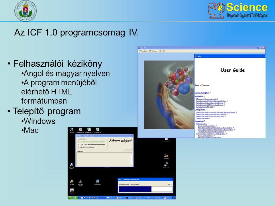 Az ICF 1.0 programcsomag IV. Felhasználói kéziköny Angol és magyar nyelven A program menüjéből elérhető HTML formátumban Telepítő program Windows Mac