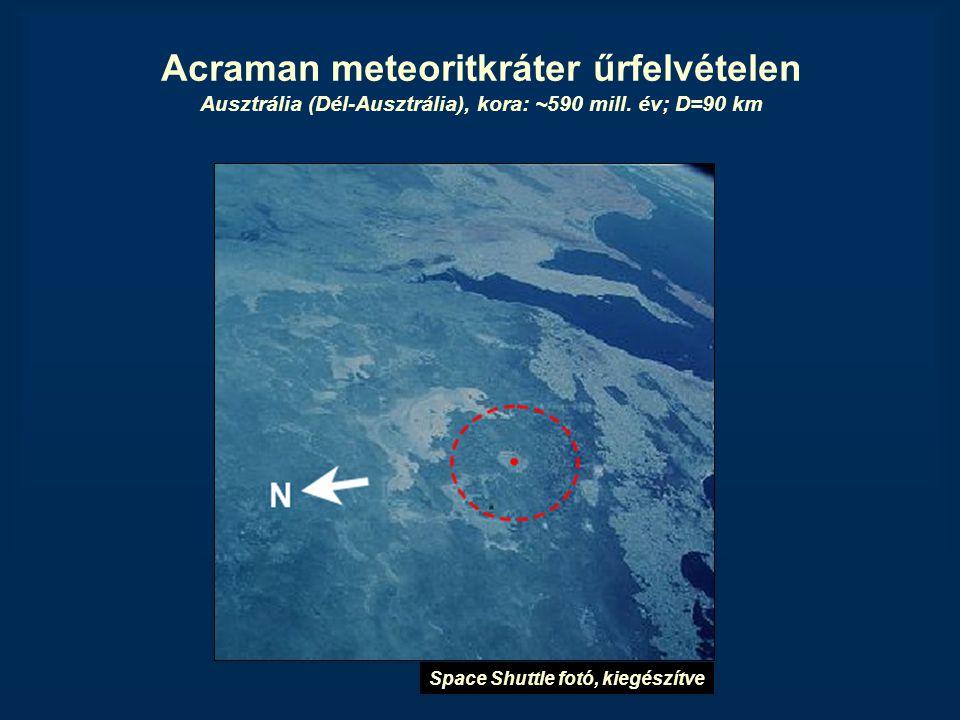 Acraman meteoritkráter űrfelvételen Ausztrália (Dél-Ausztrália), kora: ~590 mill. év; D=90 km Space Shuttle fotó, kiegészítve