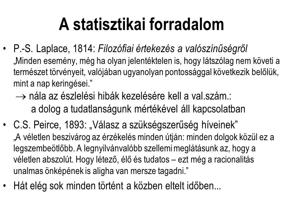 """A statisztikai forradalom P.-S. Laplace, 1814: Filozófiai értekezés a valószínűségről """"Minden esemény, még ha olyan jelentéktelen is, hogy látszólag n"""