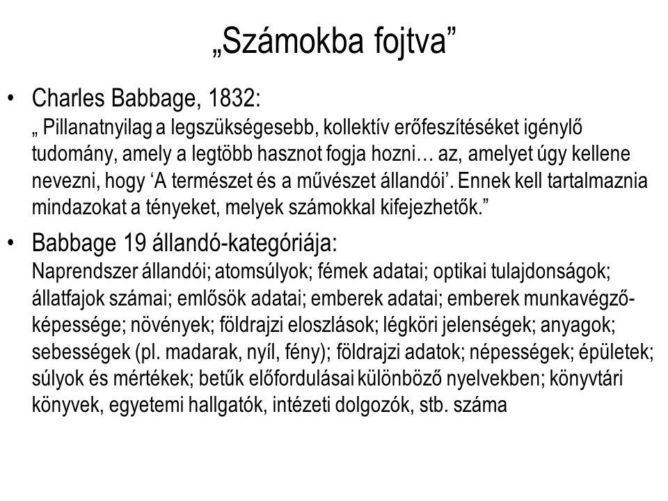 """""""Számokba fojtva"""" Charles Babbage, 1832: """" Pillanatnyilag a legszükségesebb, kollektív erőfeszítéséket igénylő tudomány, amely a legtöbb hasznot fogja"""