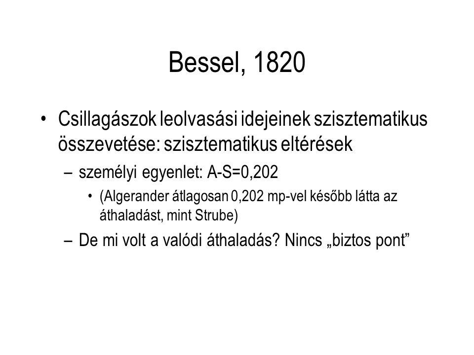 Bessel, 1820 Csillagászok leolvasási idejeinek szisztematikus összevetése: szisztematikus eltérések –személyi egyenlet: A-S=0,202 (Algerander átlagosa