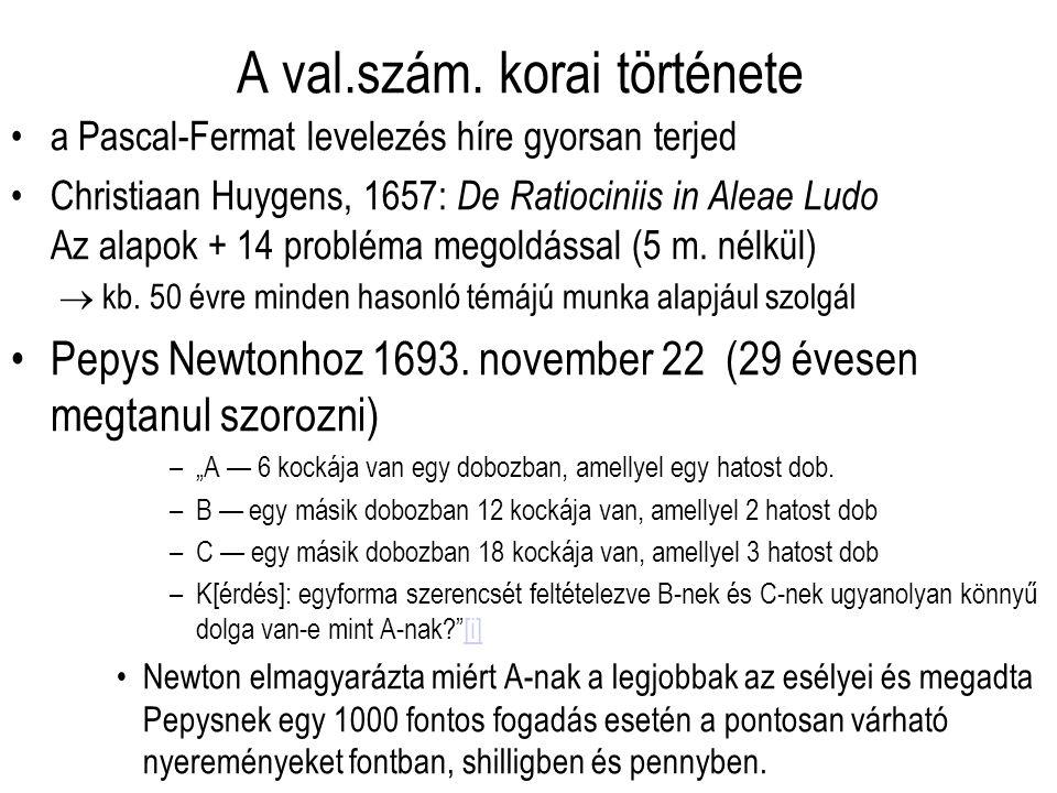 A val.szám. korai története a Pascal-Fermat levelezés híre gyorsan terjed Christiaan Huygens, 1657: De Ratiociniis in Aleae Ludo Az alapok + 14 problé