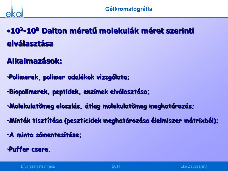 Elválasztástechnika2011Eke Zsuzsanna 10 2 -10 8 Dalton méretű molekulák méret szerinti elválasztása10 2 -10 8 Dalton méretű molekulák méret szerinti e