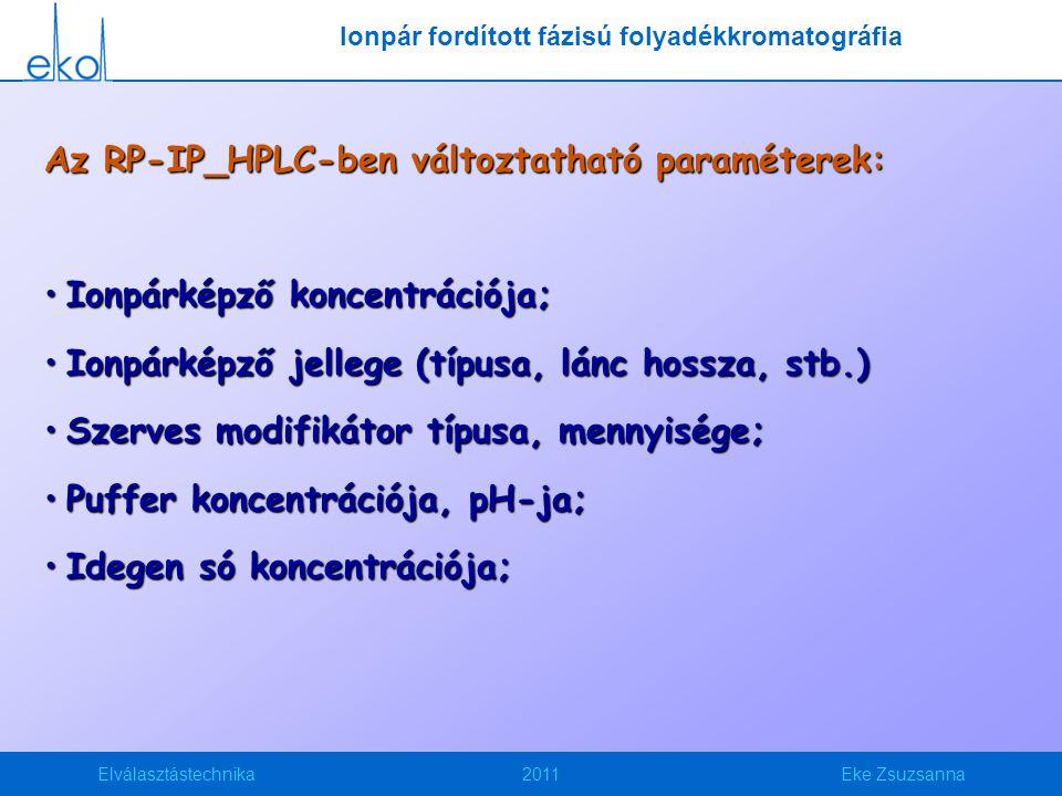 Elválasztástechnika2011Eke Zsuzsanna Az RP-IP_HPLC-ben változtatható paraméterek: Ionpárképző koncentrációja;Ionpárképző koncentrációja; Ionpárképző j
