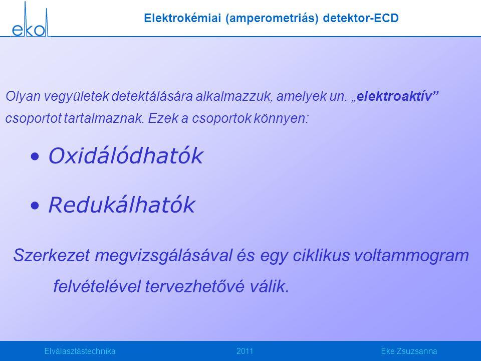 """Elválasztástechnika2011Eke Zsuzsanna Olyan vegyületek detektálására alkalmazzuk, amelyek un. """"elektroaktív"""" csoportot tartalmaznak. Ezek a csoportok k"""