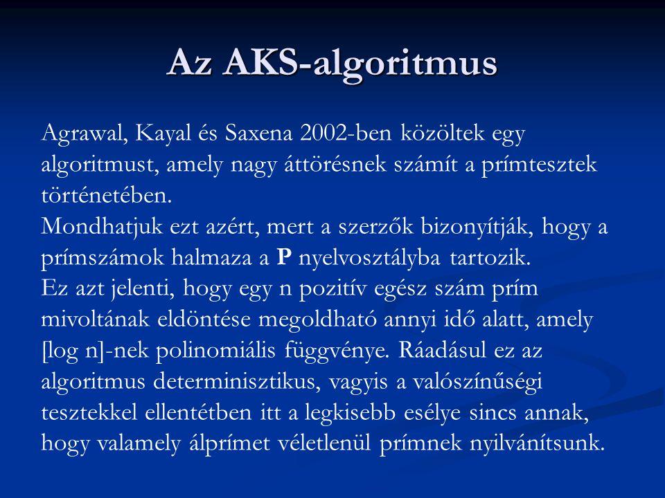 Az AKS-algoritmus Agrawal, Kayal és Saxena 2002-ben közöltek egy algoritmust, amely nagy áttörésnek számít a prímtesztek történetében. Mondhatjuk ezt
