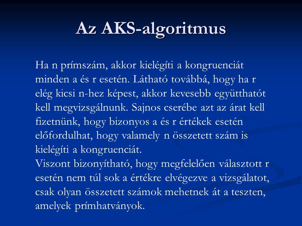 Az AKS-algoritmus Ha n prímszám, akkor kielégíti a kongruenciát minden a és r esetén. Látható továbbá, hogy ha r elég kicsi n-hez képest, akkor kevese