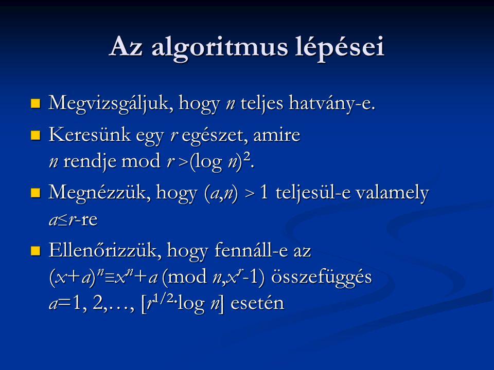 Az algoritmus lépései Megvizsgáljuk, hogy n teljes hatvány-e. Megvizsgáljuk, hogy n teljes hatvány-e. Keresünk egy r egészet, amire n rendje mod r > (