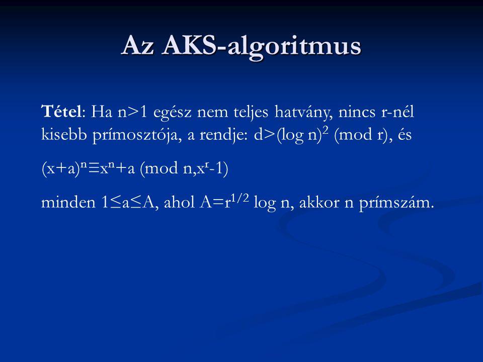 Az AKS-algoritmus Tétel: Ha n>1 egész nem teljes hatvány, nincs r-nél kisebb prímosztója, a rendje: d>(log n) 2 (mod r), és (x+a) n ≡x n +a (mod n,x r -1) minden 1≤a≤A, ahol A=r 1/2 log n, akkor n prímszám.