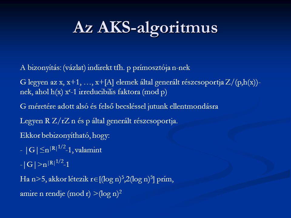 Az AKS-algoritmus A bizonyítás: (vázlat) indirekt tfh. p prímosztója n-nek G legyen az x, x+1, …, x+[A] elemek által generált részcsoportja Z/(p,h(x))