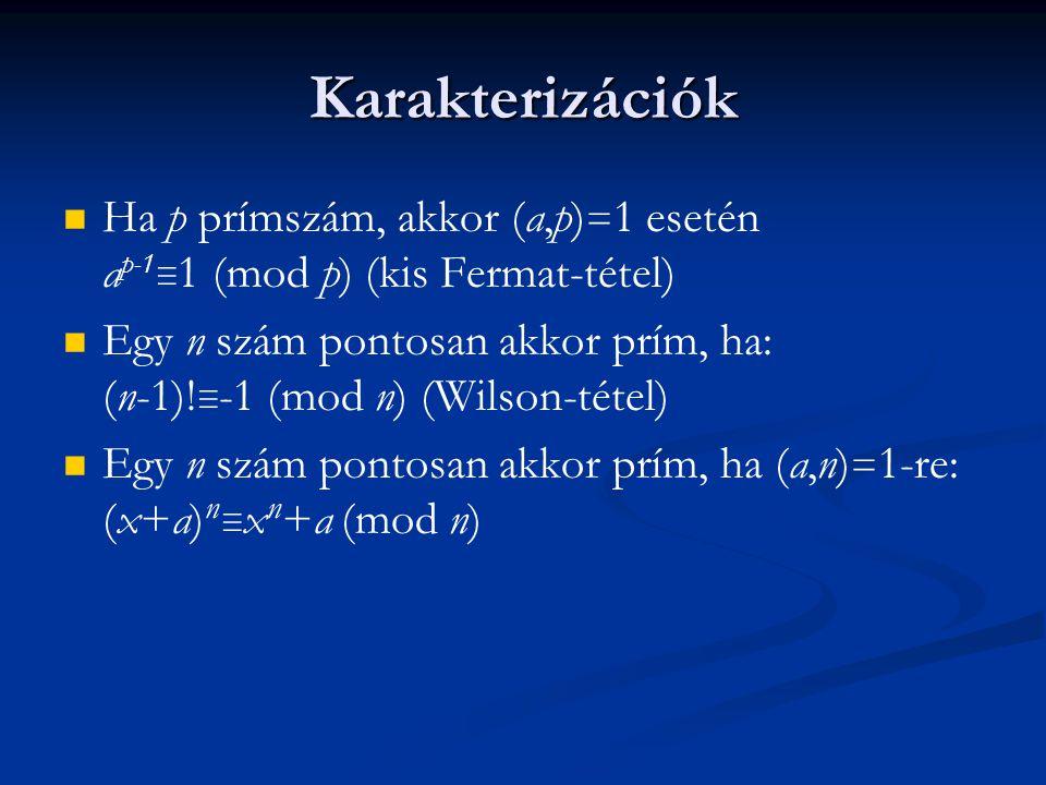 Karakterizációk Ha p prímszám, akkor (a,p) = 1 esetén a p-1 ≡ 1 (mod p) (kis Fermat-tétel) Egy n szám pontosan akkor prím, ha: (n-1)! ≡ -1 (mod n) (Wi