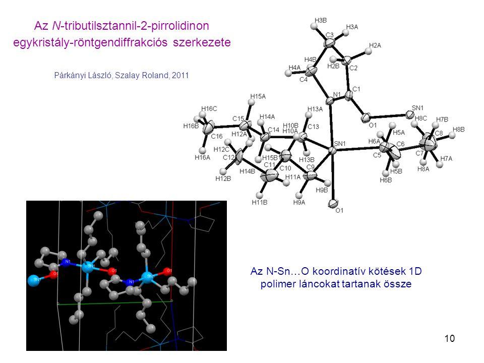 10 Az N-tributilsztannil-2-pirrolidinon egykristály-röntgendiffrakciós szerkezete Párkányi László, Szalay Roland, 2011 Az N-Sn…O koordinatív kötések 1D polimer láncokat tartanak össze