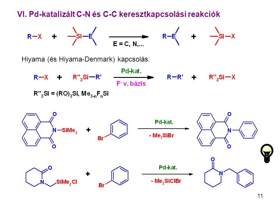 11 VI. Pd-katalizált C-N és C-C keresztkapcsolási reakciók Hiyama (és Hiyama-Denmark) kapcsolás: