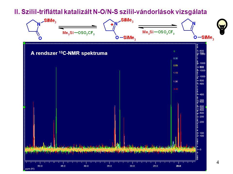 4 II. Szilil-trifláttal katalizált N-O/N-S szilil-vándorlások vizsgálata A rendszer 13 C-NMR spektruma