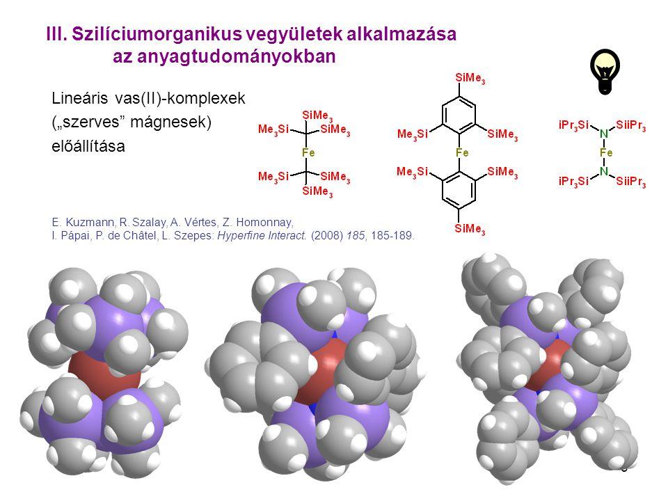 """5 III. Szilíciumorganikus vegyületek alkalmazása az anyagtudományokban Lineáris vas(II)-komplexek (""""szerves"""" mágnesek) előállítása E. Kuzmann, R. Szal"""